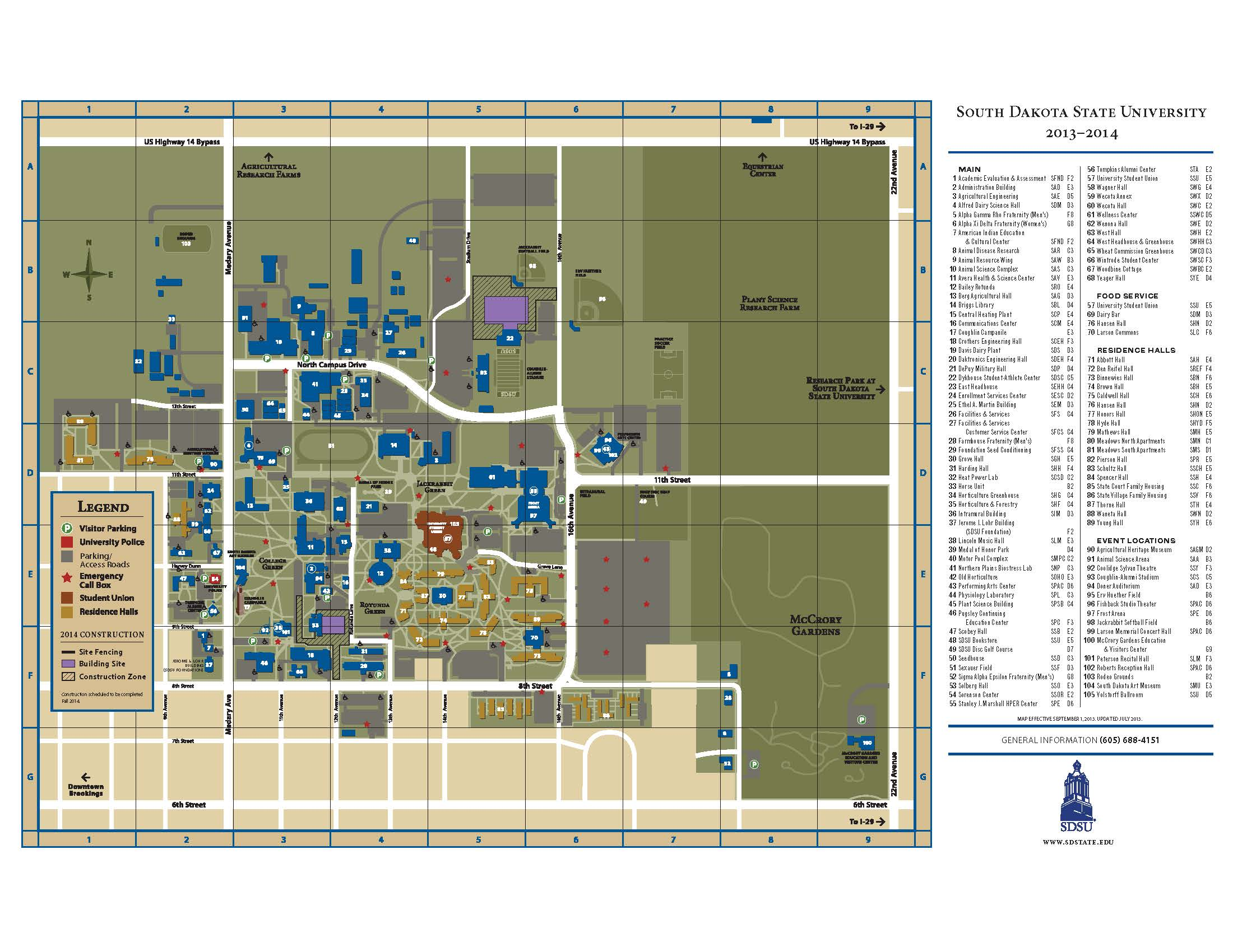 Campus Map  South Dakota State University  Acalog ACMS